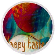 Happy Easter Greeting Card Round Beach Towel