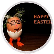Happy Easter Greeting Card. Funny Eggmen Series Round Beach Towel