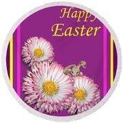 Happy Easter Hiding Bunny Round Beach Towel