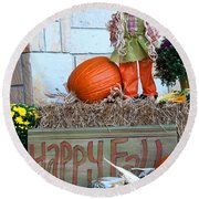 Happy Fall Round Beach Towel