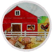 Happy Farm Round Beach Towel