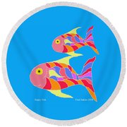 Happy Fish  Round Beach Towel