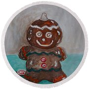 Happy Gingerbread Man Round Beach Towel