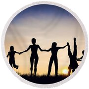 Happy Group Of People Friends Family Together Round Beach Towel