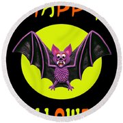 Happy Halloween Bat Round Beach Towel