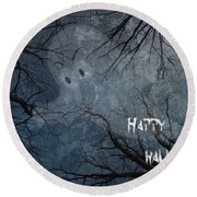 Happy Halloween - Ghost In Trees Round Beach Towel