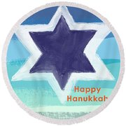 Happy Hanukkah Card Round Beach Towel by Linda Woods