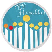 Happy Hanukkah Menorah Card Round Beach Towel