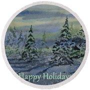 Happy Holidays - Snowy Winter Evening Round Beach Towel