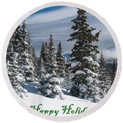 Happy Holidays - Winter Trees And Rising Clouds Round Beach Towel