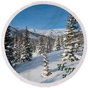 Happy Holidays - Winter Wonderland Round Beach Towel