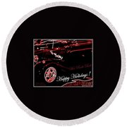 Happy Holidays Hot Rods Rule Round Beach Towel