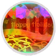 Happy Holidays - Christmas Packages - Holiday And Christmas Card Round Beach Towel