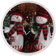 Happy Holidays - Christmas - Snowman Collection - Greeting Cards Round Beach Towel