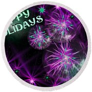 Happy Holidays Round Beach Towel