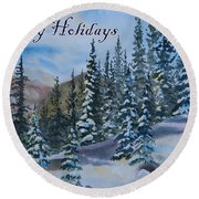 Happy Holidays Forest And Mountains Round Beach Towel