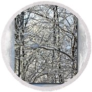 Happy Holidays Greeting - Icicles On Trees Round Beach Towel