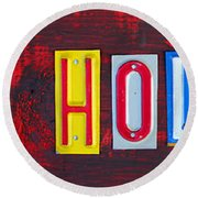 Happy Holidays License Plate Art Letter Sign Round Beach Towel