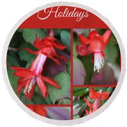 Happy Holidays Natural Christmas Card Or Canvas Round Beach Towel