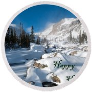 Happy Holidays Snowy Mountain Scene Round Beach Towel