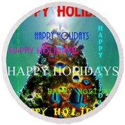 Happy Holidays Word Splash A Round Beach Towel