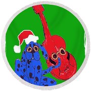 Happy Hunka Holiday Round Beach Towel