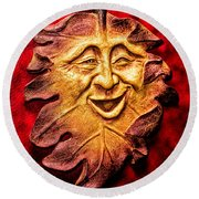 Happy Leaf Round Beach Towel