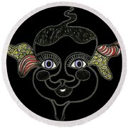 Happy Licorice Girl Round Beach Towel