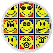 Happy Logos Round Beach Towel