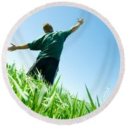 Happy Man On The Summer Field Round Beach Towel