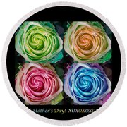 Happy Mothers Day Hugs Kisses And Colorful Rose Spirals Round Beach Towel