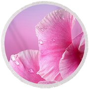 Happy Mother's Day Macro Pink Rose Petals Round Beach Towel