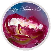 Happy Mother's Day Red Pink White Rose Round Beach Towel