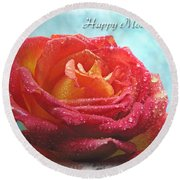 Happy Mothers Day Rose Round Beach Towel