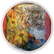 Happy Mothers Day Round Beach Towel