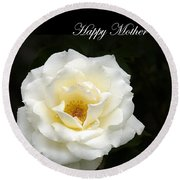 happy Mother's Day White Rose Round Beach Towel