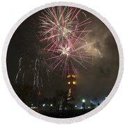 Happy New Year 2014c Round Beach Towel
