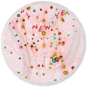 Happy New Year Round Beach Towel