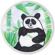 Happy Panda O.o. Round Beach Towel