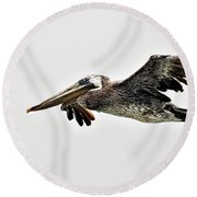 Happy Pelican Round Beach Towel
