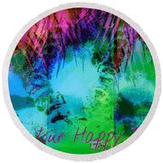 Happy Place 1 Round Beach Towel
