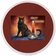 Happy Samhain Kitten And Candle Round Beach Towel
