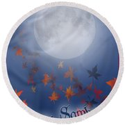 Happy Samhain Moon And Veil  Round Beach Towel