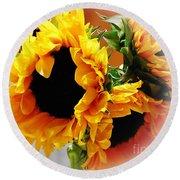 Happy Sunflowers Round Beach Towel