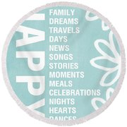 Happy Things Blue Round Beach Towel by Linda Woods
