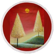 Happy Trees With Red Sky Round Beach Towel