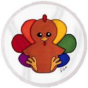 Happy Turkey Day Round Beach Towel