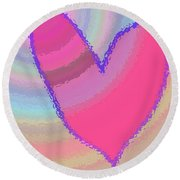 Happy Valentines Day Round Beach Towel