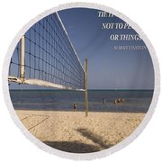 Happy Volleyball Goal Round Beach Towel