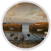 Harbor At Dusk Round Beach Towel by Pixel Chimp